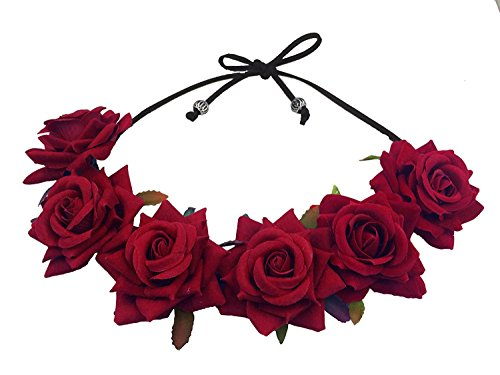 Floral Fall Rose Red Rose Flower Crown Woodland Hair Wreath Festival Headband F-67 (3-Burgundy) -