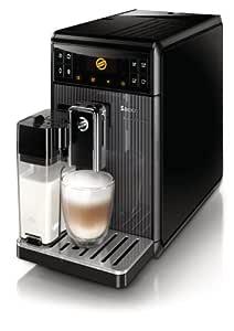 Saeco GranBaristo - Cafetera espresso automática, una pulsación y recipiente para leche, color negro