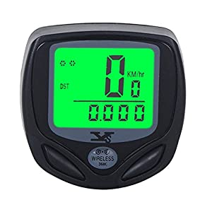 Bike Speedometer Wireless Bicycle Bike Computer and Odometer with Automatic Wake-up Waterproof Multi-Function Digital LCD Backlight Display By USATDD
