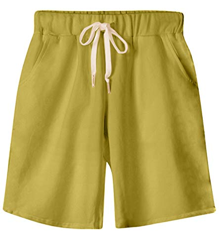 (HOW'ON Women's Soft Knit Elastic Waist Jersey Casual Bermuda Shorts with Drawstring Ginger Yellow XL)