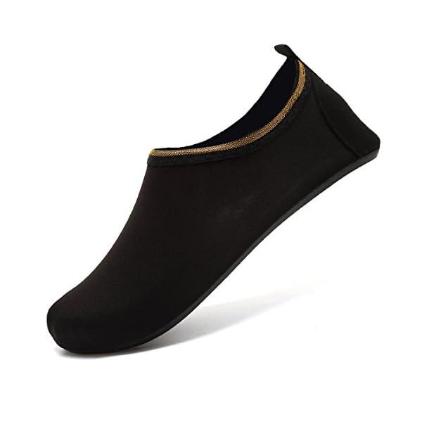 VIFUUR Water Sports Shoes Barefoot Quick-Dry Aqua Yoga Socks Slip-On For Men Women Kids SoidBlack-40/41