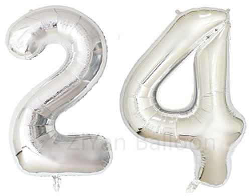 (ZIYAN 40 Inch Giant 24th Silver Number Balloons,Birthday / Party)