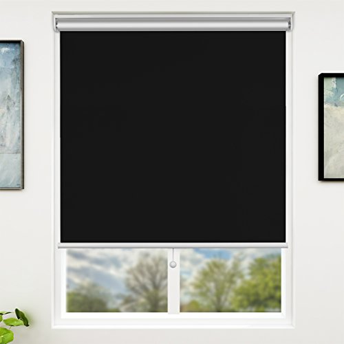 Black Roller Shade - SUNFREE Blackout Window Shades Cordless Window Blinds for Home Office 31'' x 72'', Black