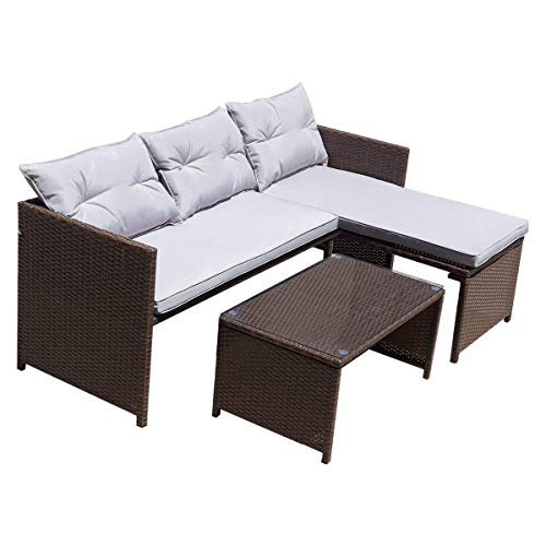 TANGKULA Patio Conversation Set (Dark Brown)