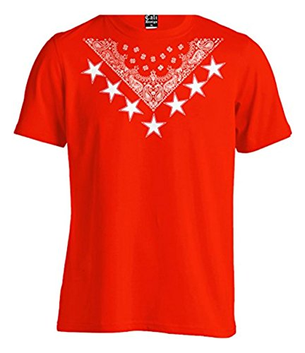 Urban Wear Red Bandana Star Crew Tee T shirt Hipster Paisley Young Blood LA NY (3X - XXXL - 3XL)