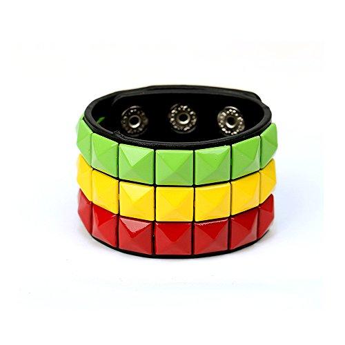 (HyperionIE Color 3 Row Pyramid Stud Wristband Punk Leather Bracelet Jewelry Bracelet (D))