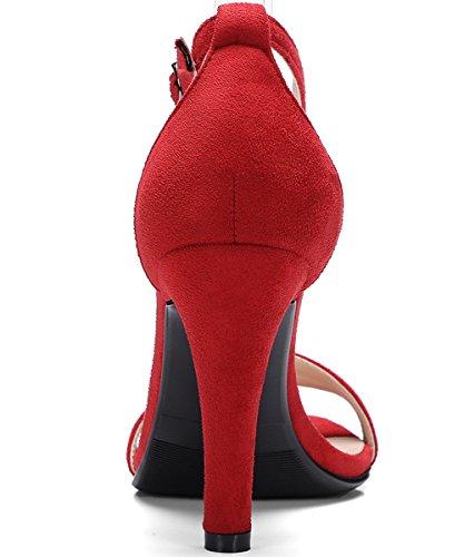 À Peep Rouge Sandales Habillées La Bride Sandales Toe Femmes Bigtree Mariage Pompes Stiletto Cheville Sgqvwv