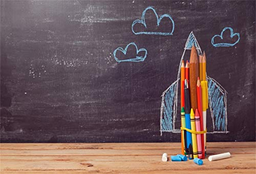 (Yeele 5x4ft Back to School Backdrop for Photography Classroom Blackboard Background Pencils Chalk Chalkboard Vintage Wooden Desktop Students Kids Children Photo Booth Shoot Vinyl Studio Props)