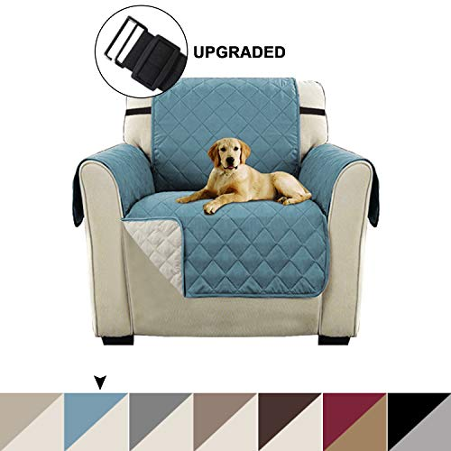 Turquoize Premium Quality Reversible Sofa Cover Pet Protector Furniture Covers for Dogs/Kids/Pets, Slip Resistant Luxurious Chair Slipcover Protector Machine Washable (Chair - Smoke Blue/Beige) (Dog Armchair Beds)