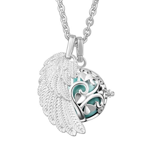 Ball Necklace 18mm Chain (EUDORA Harmony Bola Tree of Love 20mm Pendant Necklace & Angel Wing, 30''Chain Seagreen)