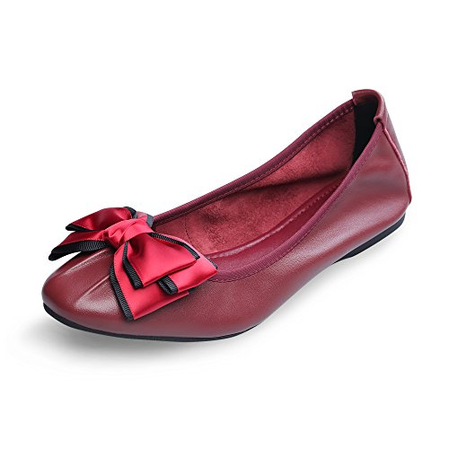 Lambskin linzhiqun Casual Women's Flat Ladies Bowknot Chaste Ballet Red Leather Emmie Loafers Shoes OxfArYOnH