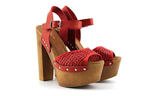 Modelisa - Sandalia Tacon Plataforma Mujer Rojo