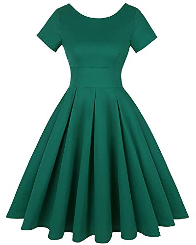 (MINTLIMIT Women Vintage 1950s Retro Rockabilly Banquet Short Sleeve Pleated Dress (Solid Green,Size L))