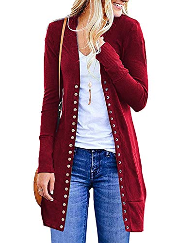 MIHOLL Women's Casual Snap Button Down Pockets Knit Long Car