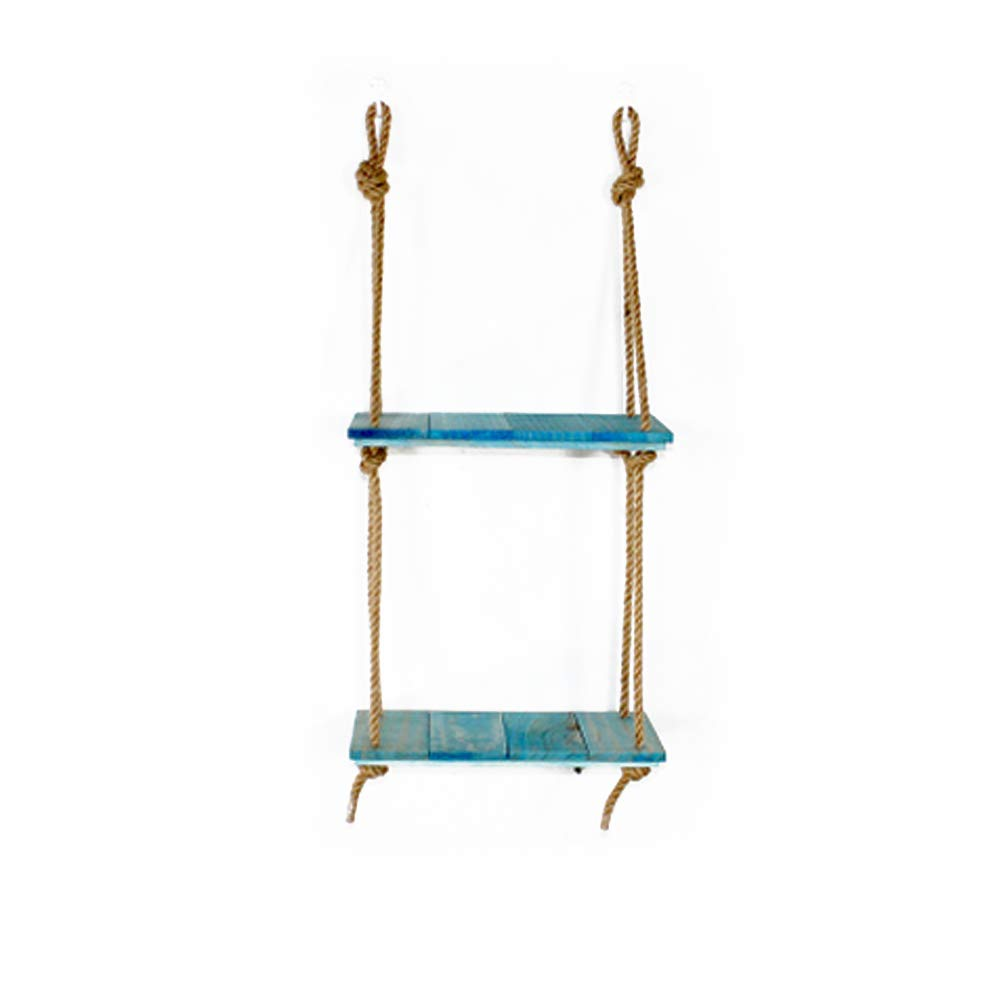 Fitlyiee Multiple Layer Hanging Shelf with Rope Wood Floating Shelves Storage Shelves Organization (Blue)
