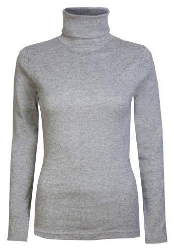 Brody & Co - Camiseta de manga larga y cuello alto para mujer, térmica, algodón gris