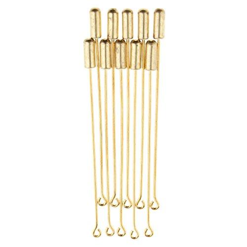 Baoblaze 10 Unidades Broche Pin Alfiler de Redonda, Ornamento para Corbata de Hombre - Oro, 7.1cm
