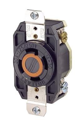 Leviton 2710 30 Amp, 125/250 Volt, Flush Mounting Locking Receptacle, Industrial Grade, Grounding, V-0-MAX, Black