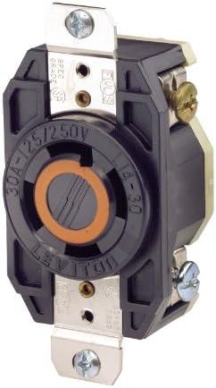 Leviton 2710 30 Amp, 125/250 Volt, Flush Mounting Locking Receptacle, Industrial Grade, Grounding, V-0-MAX, pack of 1, Black