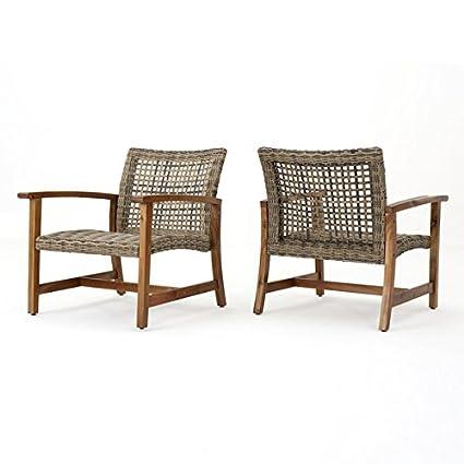 Amazon Com Hampton Outdoor Mid Century Wicker Club Chair Set Of 2