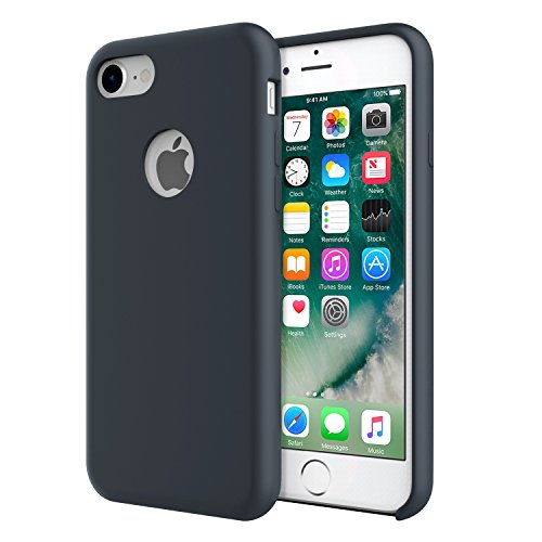 for iPhone 7 Case - MoKo Slim Fit Shockproof Liquid Silicone Gel Rubber Protective Case Soft Touch Back Cover for Apple iPhone 7 2016, Midnight Blue