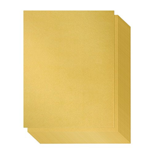 Shimmer Paper - 96-Pack Gold Metallic Cardstock Paper, Double Sided, Laser Printer Friendly - Perfect for Weddings, Baby Showers, Birthdays, Craft Use, Letter Size Sheets, 8.5 x 0.03 x 11 Inches ()