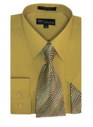 Battlestar Galactica Costumes (Milano Moda Men's Long Sleeve Dress Shirt with Matching Tie and Handkie SG21A-Mustard-17-17)