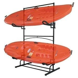 Stoneman Sports KC-422 Sparehand Malibu Plus Freestanding Double Kayak or Canoe Storage Rack, Double Sided, Black Finish