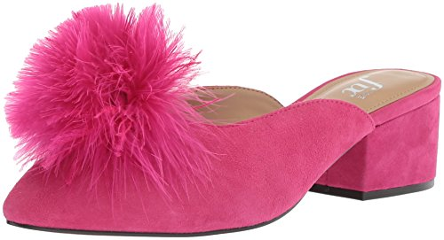 The Fix Women's Roxana Block Heel Mule with Feather Pom, Bubble Gum Pink Suede, 8 B US