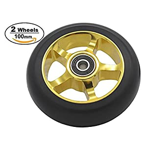 2pcs Replacement 100mm Pro Stunt Scooter Wheel with Abec 9 Bearings Fit for MGP/Razor/Lucky Pro Scooters