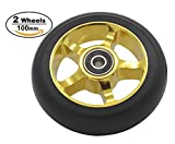 aibiku 100mm Pro Stunt Scooter Wheel with Abec-9 Bearings Fit for Fuzion/Envy/MGP/Lucky TFOX/Vokul Pro Scooters - 2PCS(Gold)