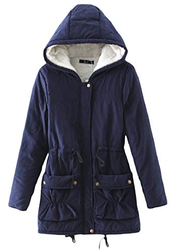 Outwear Mid Women's Hoodie Warm Elastic Long Navy Thickened Jacket Energy Pocket blue Velvet zaxFqnnw