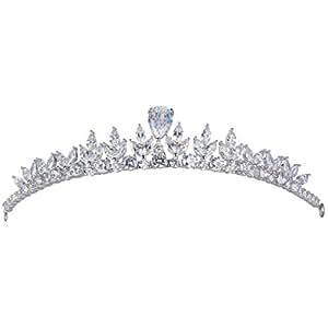 EVER FAITH Silver-Tone Cubic Zirconia Royal Leaf Tear Drop Wedding Head Band Tiara Clear