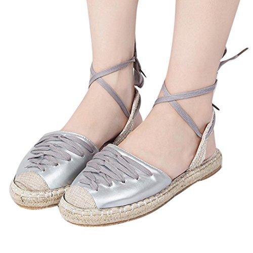 Espadrilles Silver up Sandalen Lady Frauen Vintage Knöchelriemen Casual Schuhe Absatz Flascher HLHN Römischer Lace Stroh 6vXnR