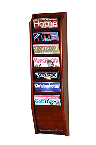 - DMD Wall Mounted Magazine Rack, 7 Pocket Display, Mahogany Wood Finish