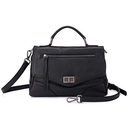 011 Pebbles (Women's Leather Satchel Handbags Mutil Functional Crossbody Shoulder Purse With Top Handle (Black))