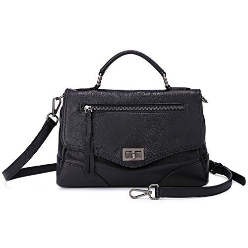 Women's Leather Satchel Handbags Mutil Functional Crossbody Shoulder Purse With Top Handle (Black)
