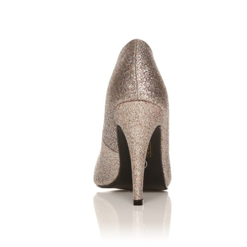 DARCY - Chaussures à talons hauts - Stiletto - Bout pointu -Effet Pailleté - Argent et Or