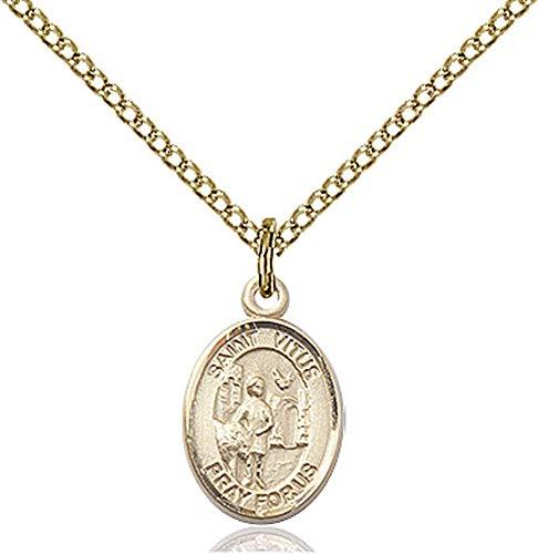 14kt Gold Filled St. Vitus Pendant, GF Lite Curb Chain Patron Saint Actors/Comedians 1/2 x 1/4