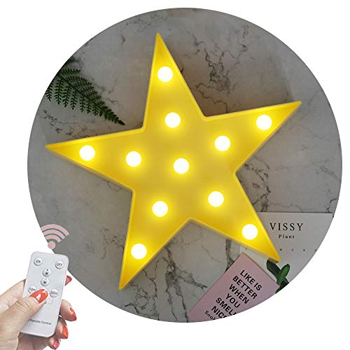 Obrecis Light Up Star Marquee Sign,Marquee Star Night Lights with Remote Timer Dimmable for Children Kids Gift Bedroom Baby Nursery Lamp (RC Yellow Star)]()