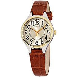 Carriage Women's C3C401 Two-Tone Round Case Champaign Dial Brown Croco Leather Strap Watch