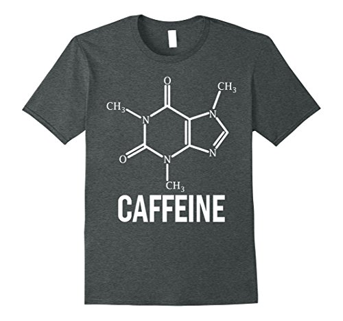Mens Caffeine Molecule - Science Nerdy Coffee Addict T-Shirt Large Dark Heather (T-shirt Dark Addict)