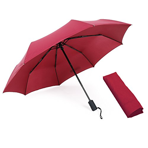 Auto Open Close Umbrella, WITERY Large Umbrella Blizzard-Proof Windproof Durable and Strong Travel Umbrella / Compact Ultra-Slim Business Umbrella - Sun Rain Protection Umbrellas Wine - Open Beach Blizzard