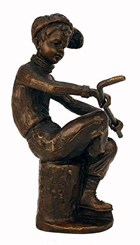 (Pure Bronze Statue Young Hockey Player Sculpture Solid Fairy Figurine)