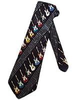 Steven Harris Mens Electric Guitars Necktie - Black - One Size Neck Tie