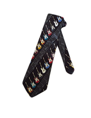 Steven Harris Mens Electric Guitars Necktie - Black - One Size Neck Tie (Best Acoustic Amp For Small Gigs)