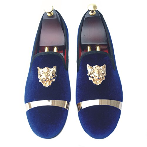 780d8e1759f Justyourstyle Men s Velvet Loafers Slippers with Gold Buckle Wedding Dress  Shoes Slip-on Smoking Flats