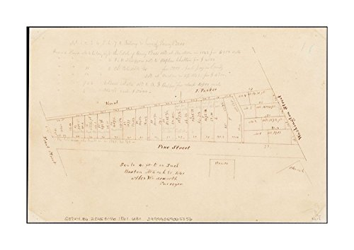 1861 Map Boston Plan of lots on Pine Street, Boston, between Washington & Front Streets Title supplied by cataloger.Shows area of Pine Street in Chinatown, between Washington St.and Front - Street Boston Map Washington