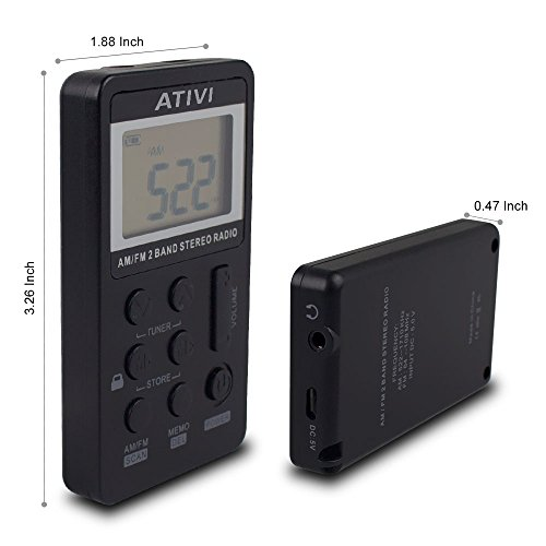 am fm pocket radio ativi portable mini digital tuning am. Black Bedroom Furniture Sets. Home Design Ideas
