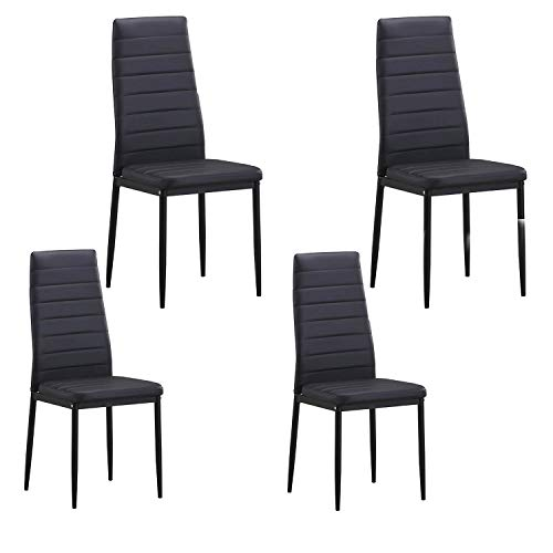 LZ LEISURE ZONE Dining Chair Set of 4, Kitchen Chairs Dining Room Chairs Cushion High Back Support, PU Leather Chairs for Kitchen, Dining, Bedroom, Living Room Side Chairs(Black)